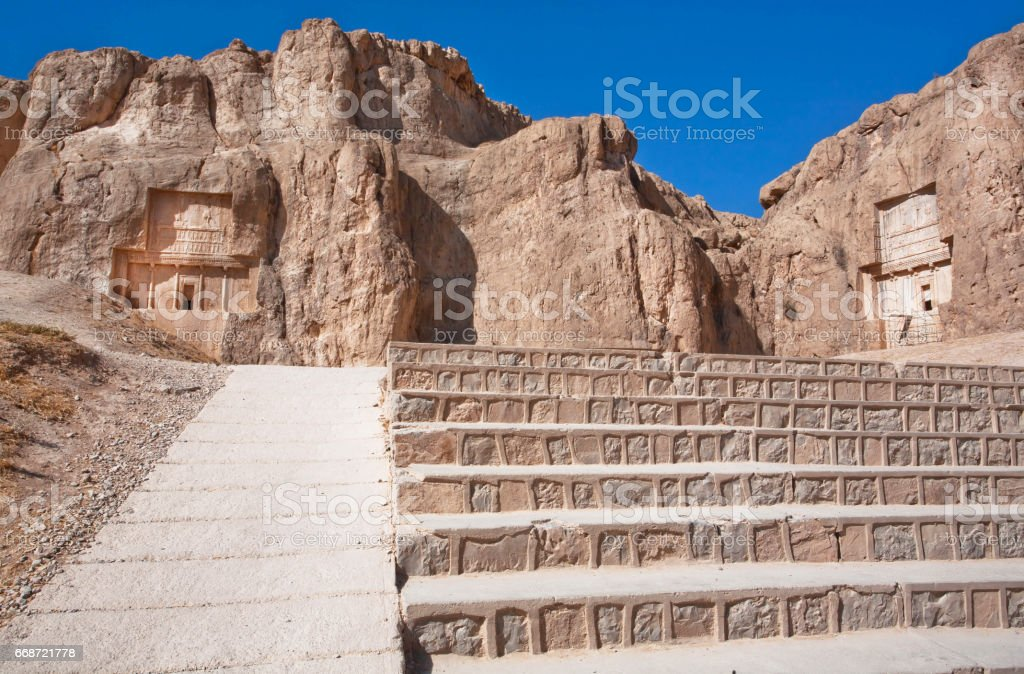 Stairs To Historical Monuments Of Naqshe Rustam Ancient Necropolis Near Persepolis Iran Stock Photo Download Image Now Istock