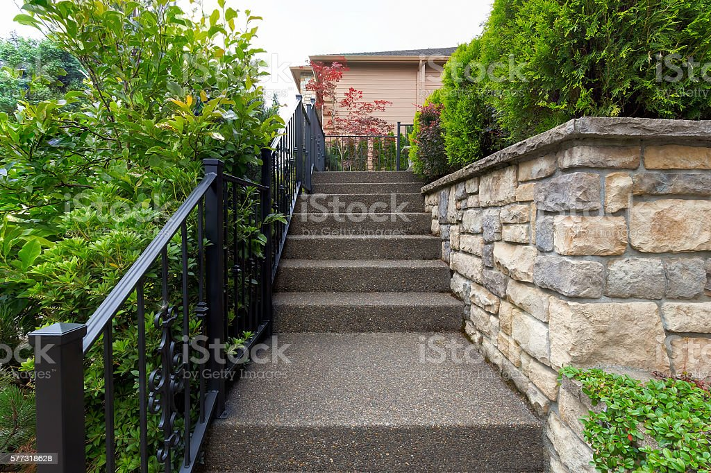 Stairs to House Front Door Entrancre stock photo