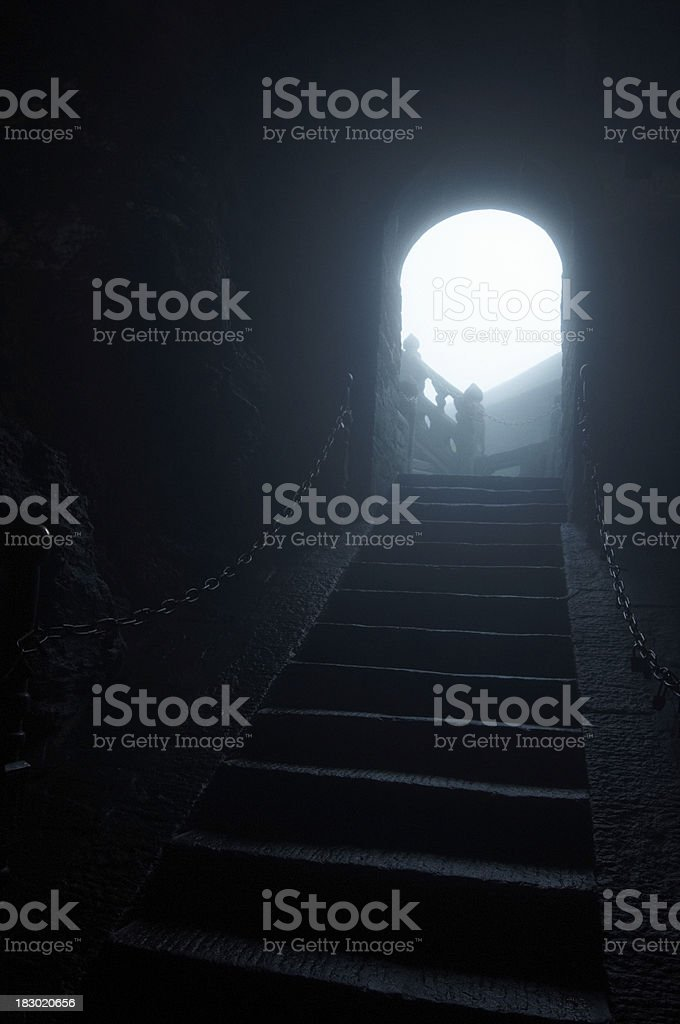 stairs to light stock photo