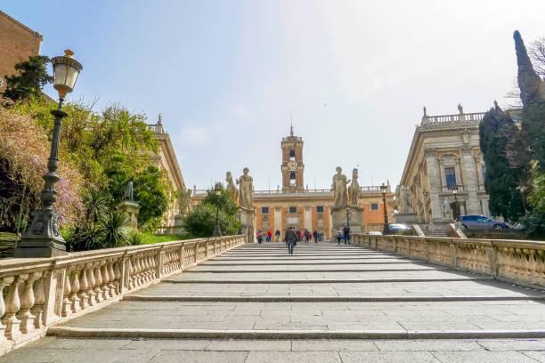 Stairs to Piazza del Campidoglio stock photo