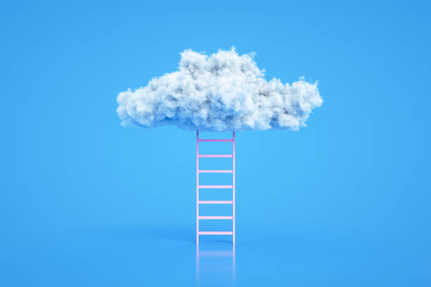 Stairs to the clouds, Ladder of Success Concept stock photo
