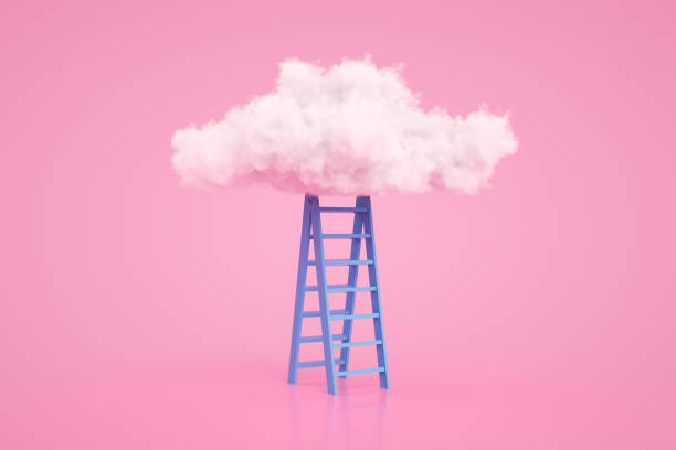 Stairs to the clouds, Ladder of Success Concept - foto stock