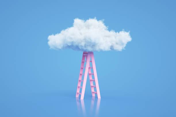 escadas às nuvens, escada do conceito do sucesso - escapismo - fotografias e filmes do acervo