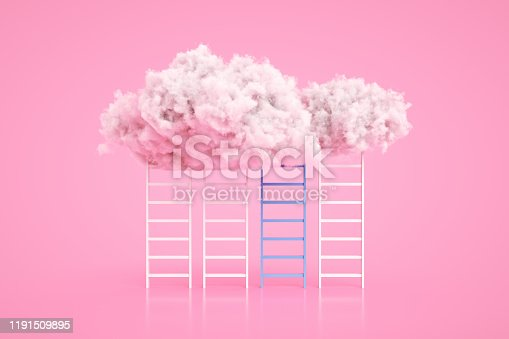 3d rendering of Staircase and cloud. Success, steps, ladder of success concept.
