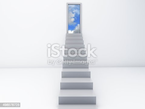 istock Stairs to the doors of heaven. free concept 498578725