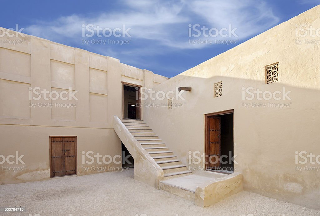 stairs to the II level of porch,  Riffa fort, Bahrain stock photo