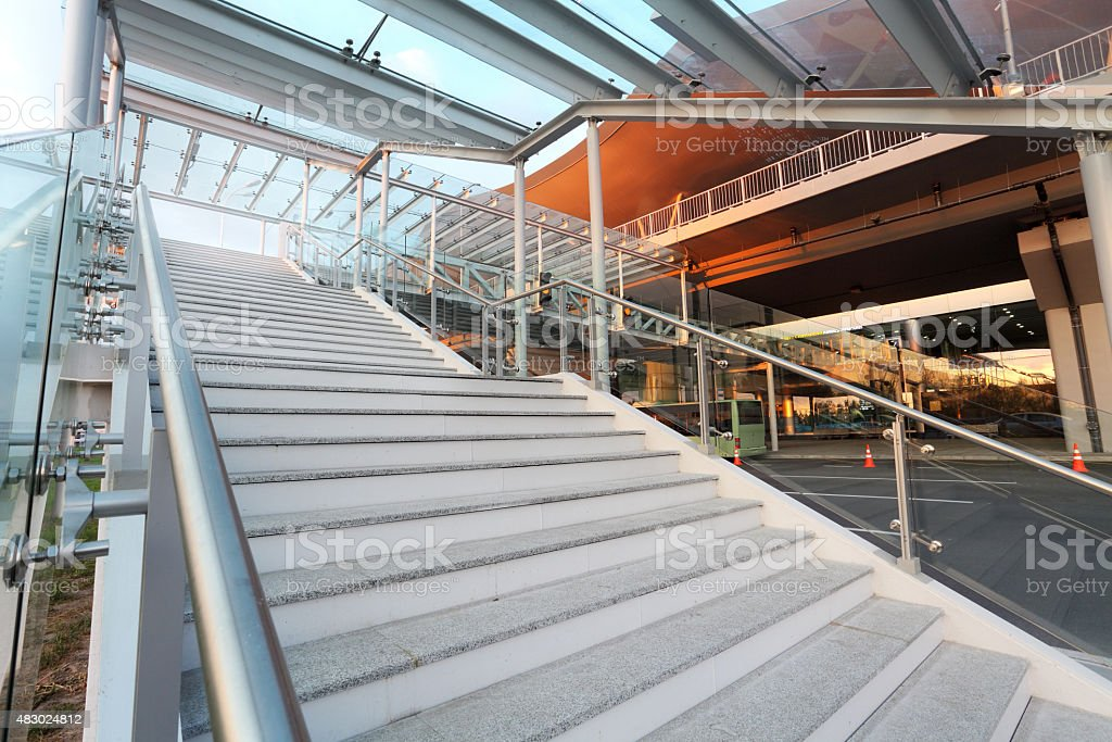 stairs to the new airport terminal stock photo
