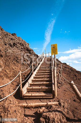 stairs to the top of volcano crater at mount vesuvius in italy.