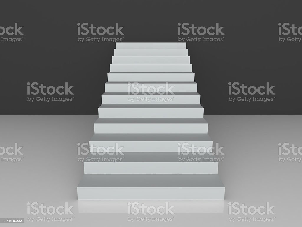 Stairs Towards Black Wall royalty-free stock photo