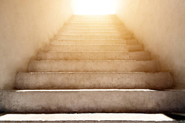 stairs up and the sunlight - staircase stock photos and pictures