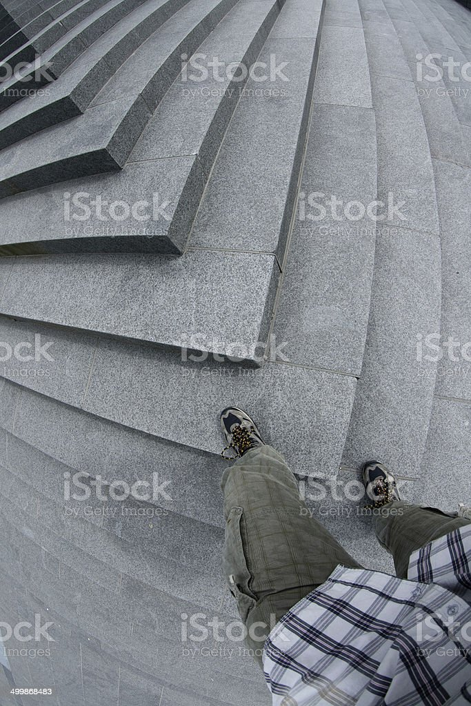 Stairs With Person stock photo