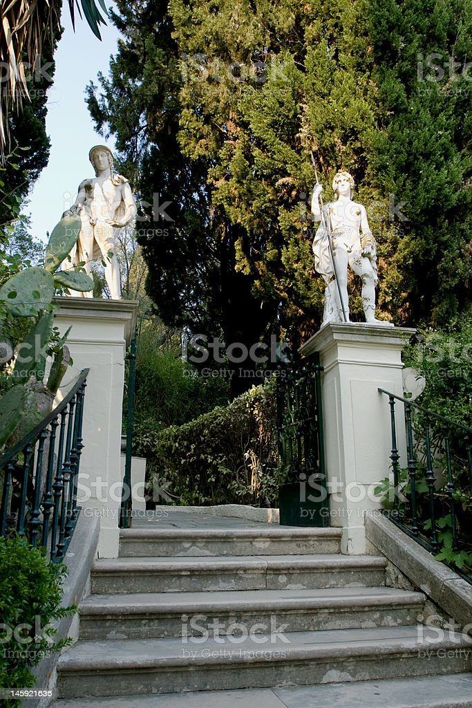 Stairs with statues royalty-free stock photo
