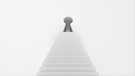 Stairs with steps leading to the keyhole, computer graphics abstract background, 3D rendering backdrop