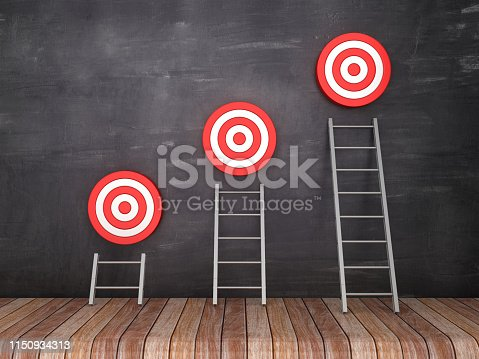 1014851458 istock photo Stairs with Target on Chalkboard Background - 3D Rendering 1150934313