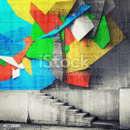 Stairway and abstract graffiti fragment on the wall. Photo collage with 3d illustration elements