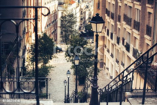 Stairway and Lamp, Montmartre, Paris, France