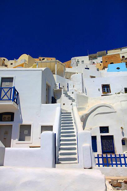 stairway between houses (santorini) - mamma mia stock photos and pictures