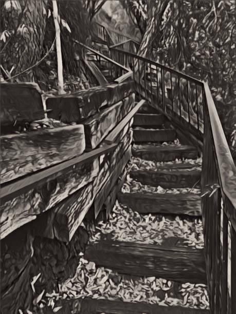 Stairway BlackWhite Outline stock photo