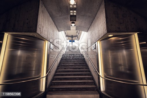 1166703050 istock photo Stairway for Exit and Entrance to Subway Station, Modern Architecture Perspective of Structure Staircase, Access Way of Underground Transit 1158562398