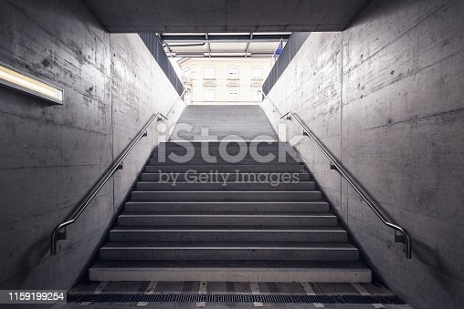 1166703050 istock photo Stairway for Exit and Entrance to Subway Station, Modern Architecture Perspective of Structure Staircase, Access Way of Underground Transit 1159199254