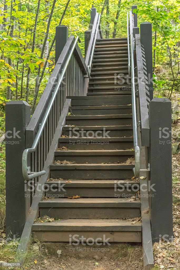 Stairway for hikers in autumn woods stock photo