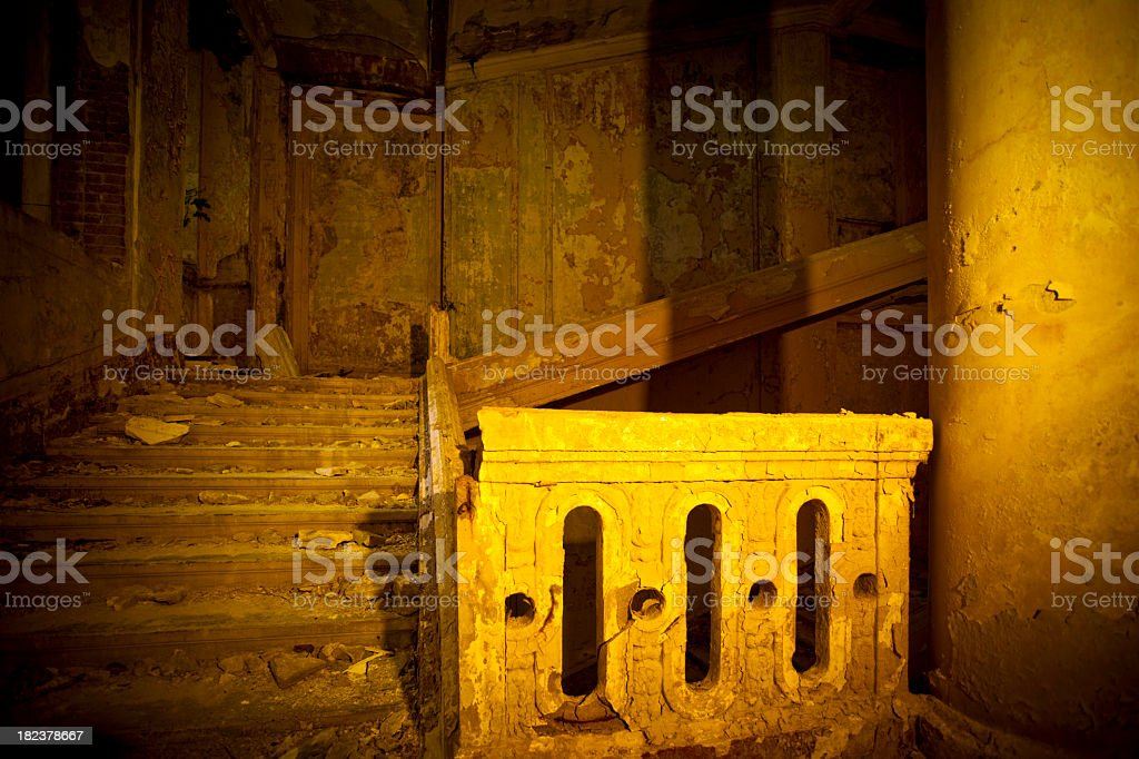 Stairway in abandoned house royalty-free stock photo