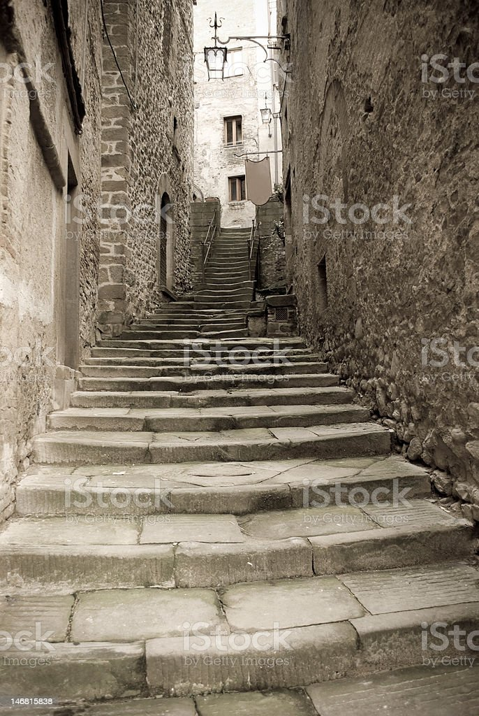 Stairway in an old town royalty-free stock photo