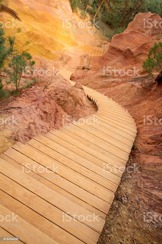 Stairway in Ochres Deposits, Roussillon Village, Luberon stock photo