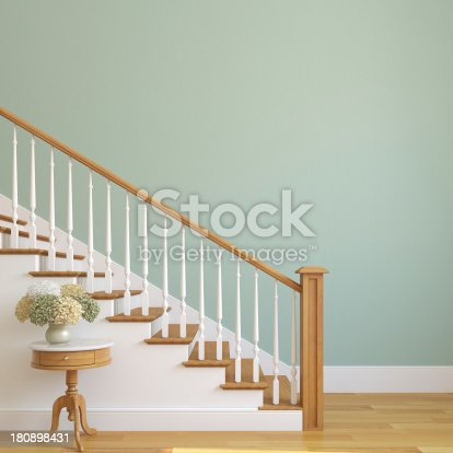 White stairway in the modern house. 3d render.