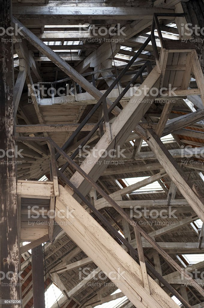 Stairway in wood royalty-free stock photo