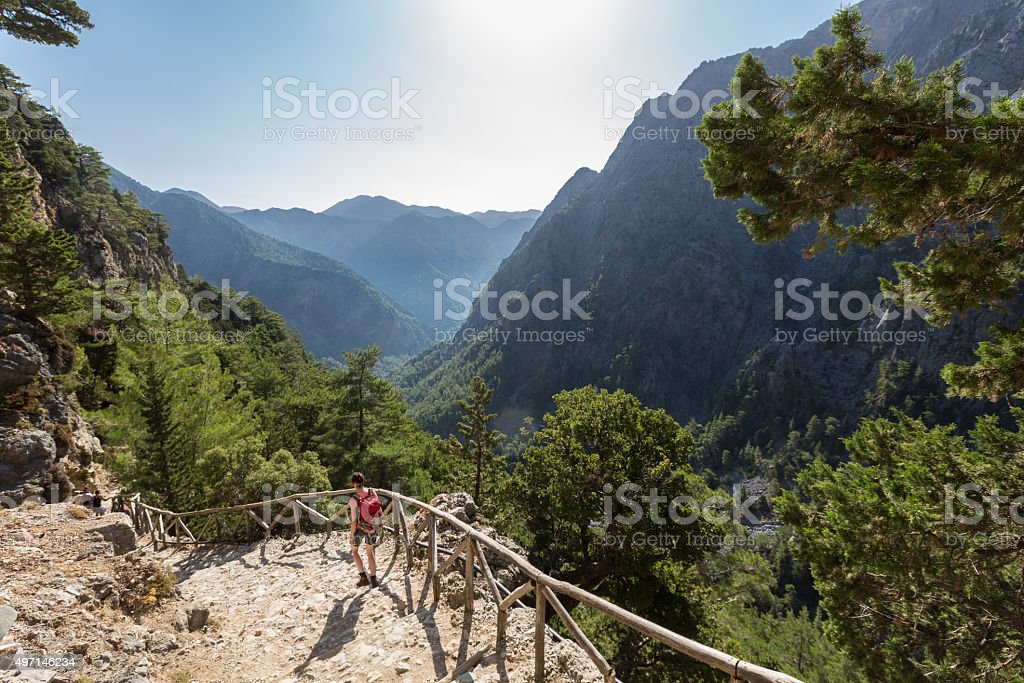 Stairway into Samaria Gorge, Crete stock photo
