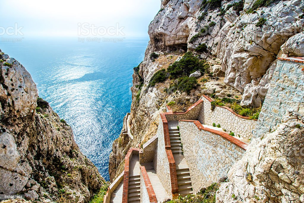 Stairway leading to the Neptune's Grotto,near Alghero stock photo