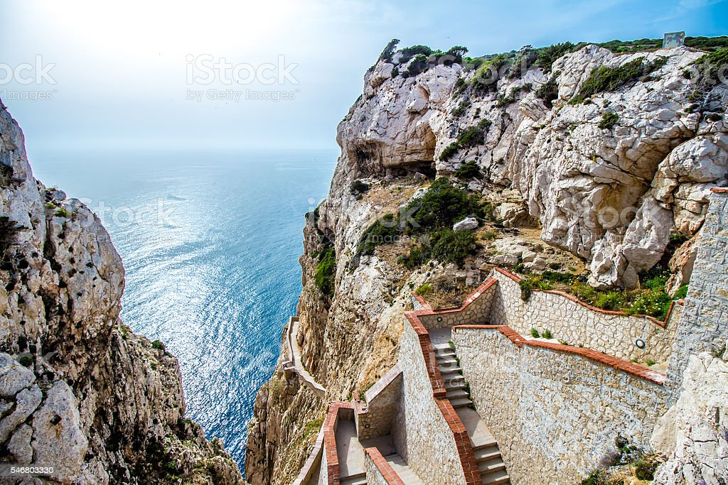 Stairway leading to the Neptune's Grotto,near Alghero - foto de stock