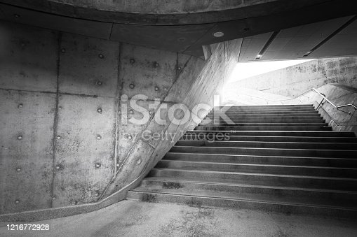 Stairway leading up and abstract geometric concrete architecture