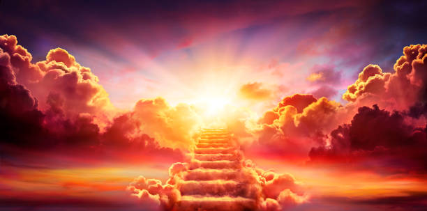 Stairway Leading Up To Sky At Sunrise - Resurrection And Entrance Of Heaven stock photo