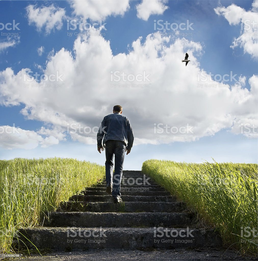 Stairway on blue heaven stock photo