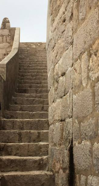 Stairway on wall in Old Town Dubrovnik stock photo