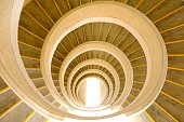 Spiral staircase in temple in Chinese garden Singapore