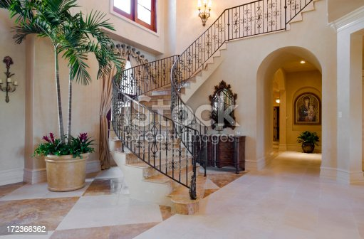 Elegant stairway in estate home. (Picture on wall is one of my limited editions)