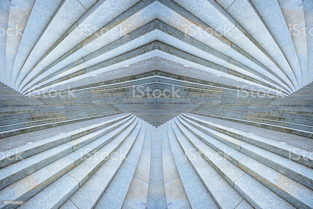 Stairway, sideways into distance. Kaleidoscopic stock photo