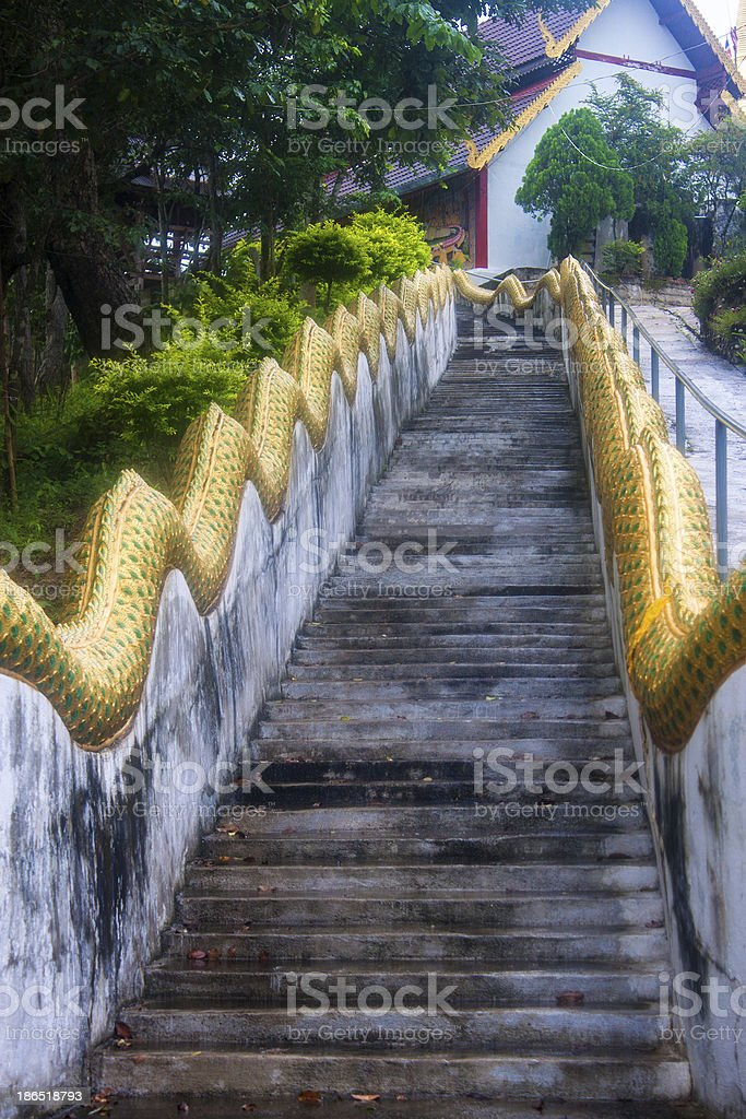 Stairway to a temple in Pai royalty-free stock photo