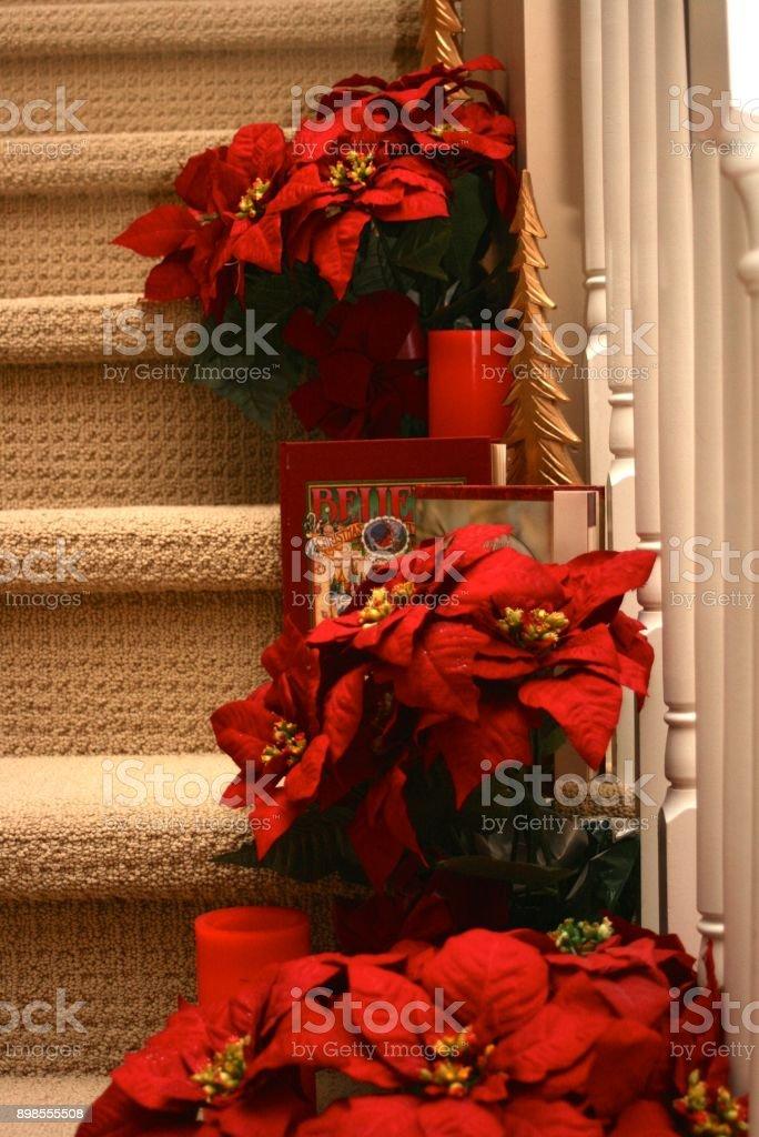 Stairway to Christmas stock photo