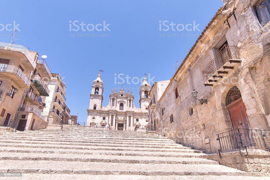 Stairway to get to the cathedral - Palma di montechiaro - foto stock