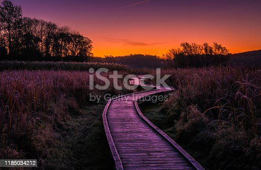 Beautiful sunrise over the boardwalk in Wawayanda state park. Stairway to heaven is 2.9 miles long hiking trail via Appalachian trail located near Vernon, New Jersey. The Appalachian trail is the longest hiking only footpath in the word, ranging from Maine to Georgia