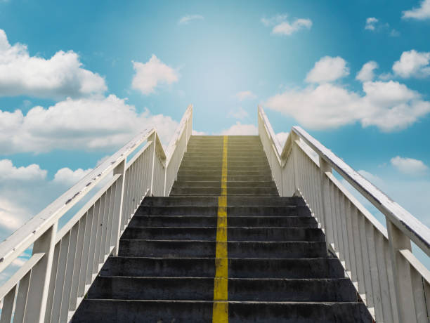 Stairway to heaven, Steps with heavenly sky stock photo
