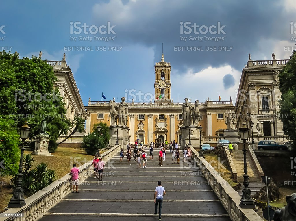 Stairway to Michelangelo Capitoline Hill Rome, Italy stock photo