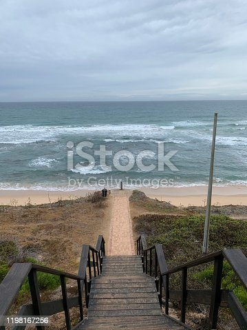 Stairway on beach in Moussel bay South Africa