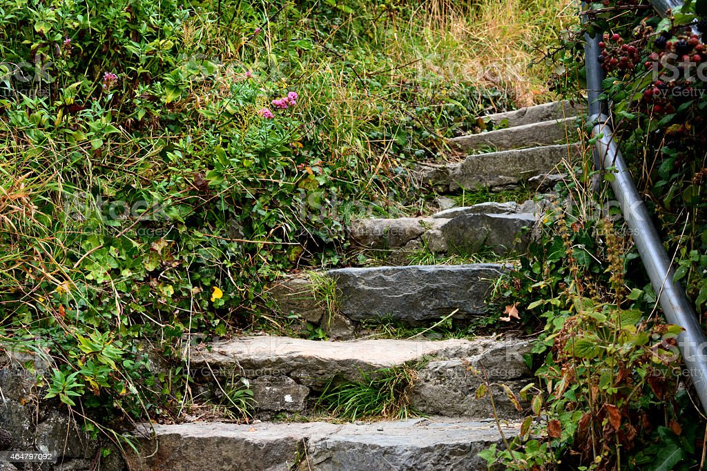 Stairway to ruins of King John's Castle, Carlingford,Ireland stock photo