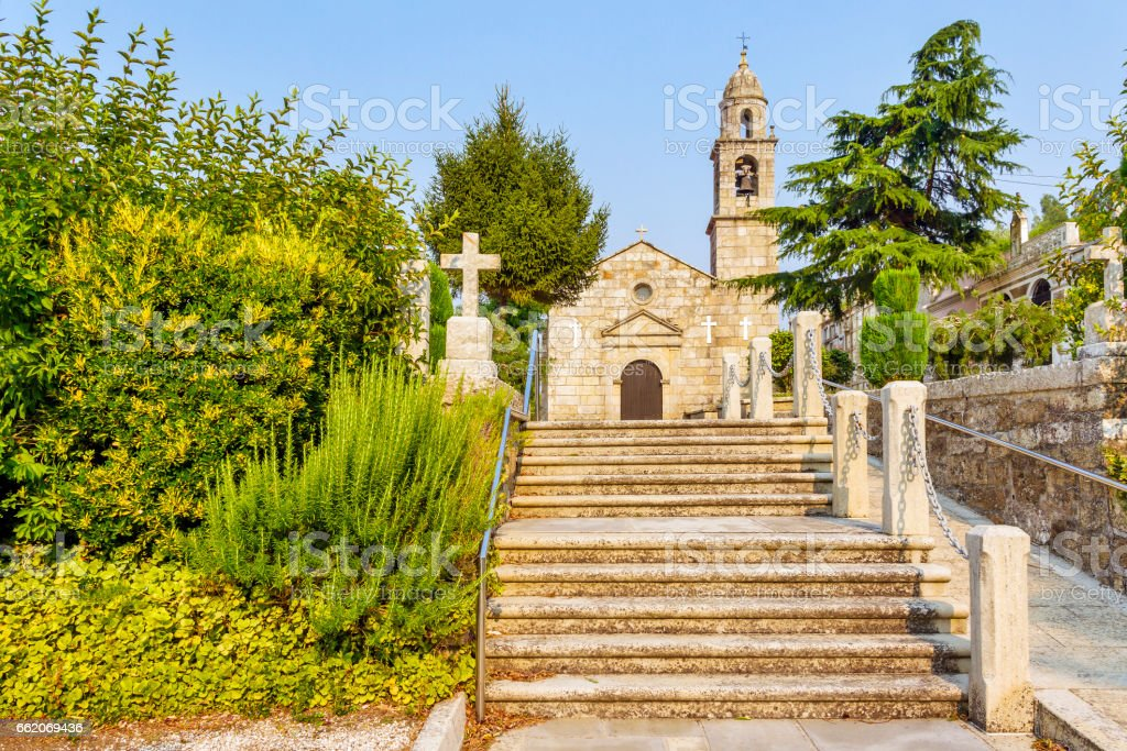 Stairway to San Pedro church in Vilalonga royalty-free stock photo