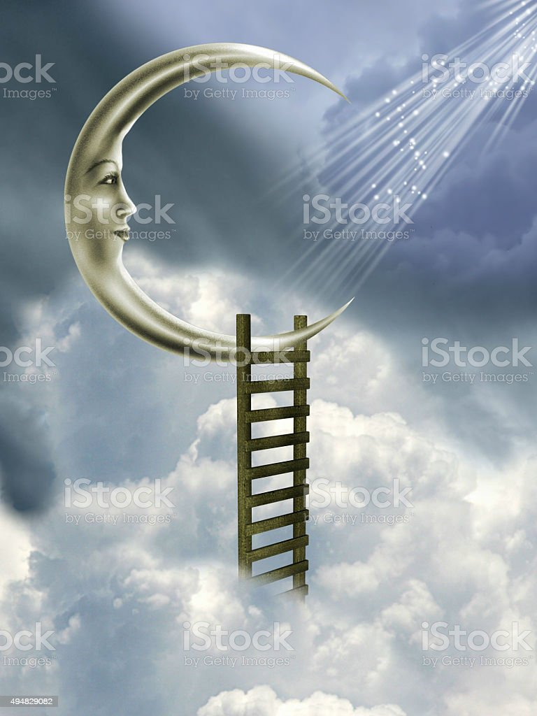 stairway to the moon stock photo